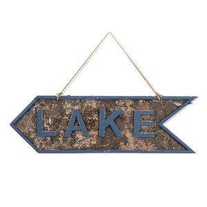 """""""LAKE"""" Wooden Sign Cottage Nautical"""